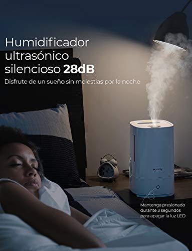 Homasy 4.5L Humidificador Ultras/ónico Humidificador Bebes Antibacteriano con 30h de Tiempo de Trabajo,Blanco Llenado Superior de Hasta 40-50 m/² Humidificador Silencioso de 28 dB