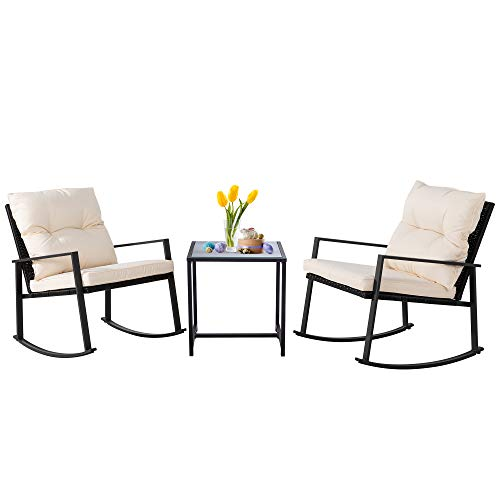 SUNLEI Outdoor 3-Piece Bistro Set Black Wicker Furniture-Two Chairs with Glass Coffee Table (Beige)