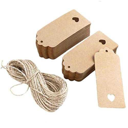 100pcs Hollow Heart Scalloped Kraft Paper Card Gift Tag Diy Tag Luggage Tag Price Label