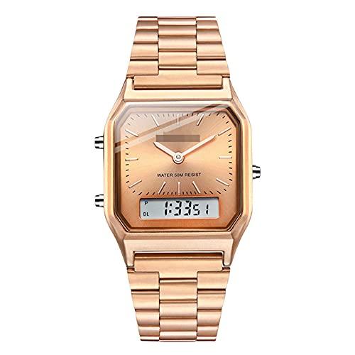 BBZZ Reloj electrónico de Banda de Acero Retro de Negocios, Universal para Hombres y Mujeres, Reloj multifunción de Doble Pantalla, Elegante y Simple,Oro