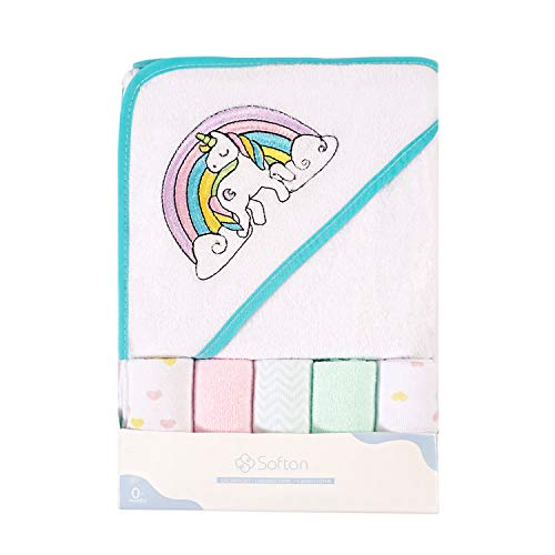 Toalla de baño con capucha y toallitas para bebé, Extra suave y ultra absorbente, Paquete de 6 regalos para recién nacidos y bebés, unicornio