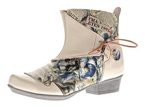 TMA Damen Stiefeletten Comfort Boots Echtleder Weiß-Creme Leder Schuhe 6211 Gr. 40