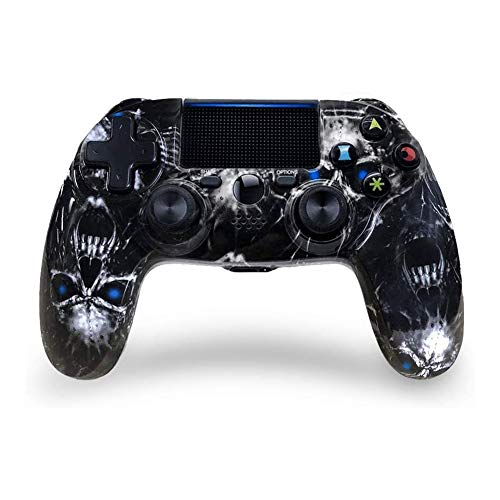 Controller PS4 Joystick Playstation 4 Gaming-Controller Wireless Bluetooth Gaming-Controller mit doppelter Vibration PS4 mit Touchpad Joystick mit hoher Präzision für PlayStation 4 (Blue Skull)