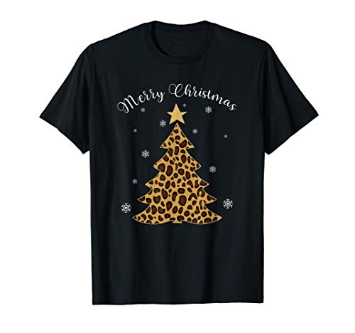 Wild Christmas Tree Leopard Print Animal Pattern Funny Gift Camiseta