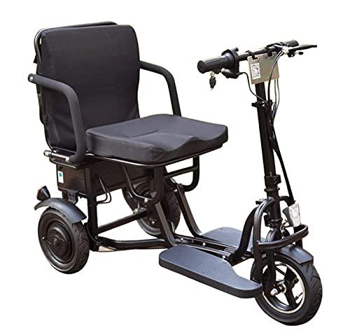 Fhdisfnsk Scooter de Movilidad eléctrico Plegable de 3 Ruedas, Scooters de Viaje eléctricos portátiles y livianos, Dispositivo de Silla de Ruedas móvil eléctrico para Adultos Mayores discapacitados. ✅