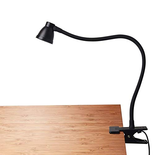 CeSunlight Clamp Desk Lamp, Clip on Reading Light, 3000-6500K Adjustable Color Temperature, 6 Illumination Modes, 10 Led Beads, AC Adapter and USB Cord Included (Black)