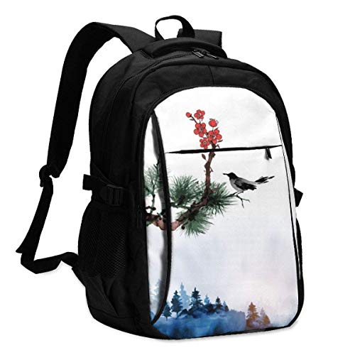 IUBBKI Bolsa para computadora mochila USB Little Bird, Pine Tree and Sakura Branches and Forest Trees in Fog Office & School Supplies with USB Data Cable and Music Jack Laptop Bags Computer Notebook 1