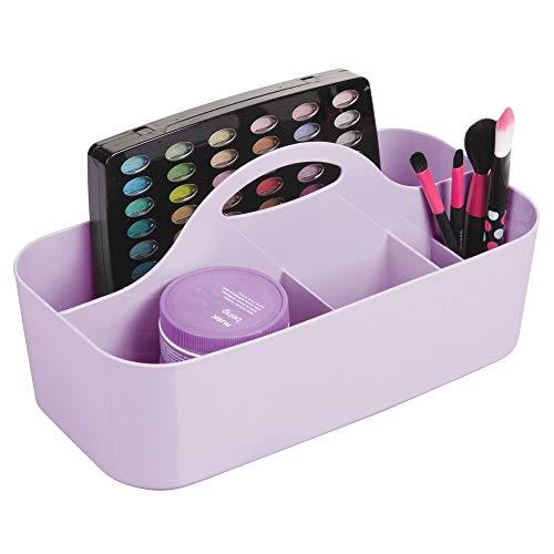 mDesign Kosmetikkorb mit 6 Fächern – tragbarer Aufbewahrungskorb aus Kunststoff für Pflegeprodukte – Badablage für Make-up-Pinsel, Nagellack, Rasierer und Co. – helllila