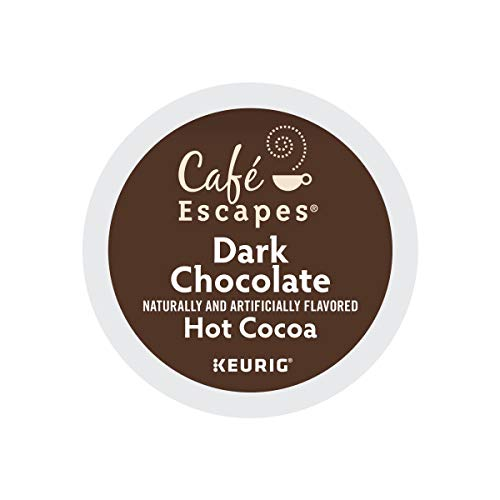 Cafe Escapes, Dark Chocolate Hot Cocoa, Single-Serve Keurig K-Cup Pods, 48 Count (2 Boxes of 24 Pods)
