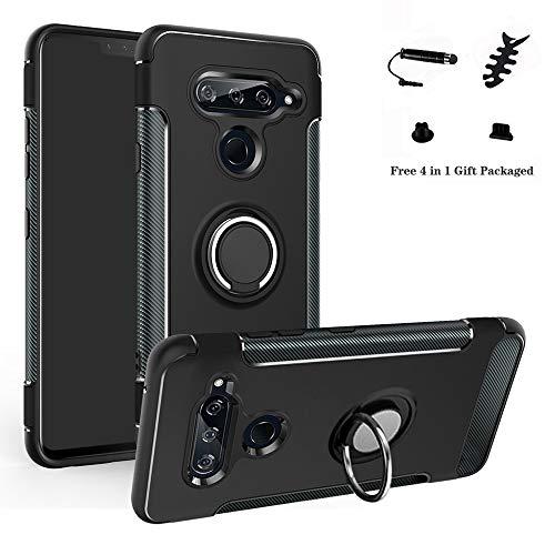 LFDZ LG V40 ThinQ Hülle, 360 Rotation Verstellbarer Ring Grip Stand,Ultra Slim Fit TPU Schutzhülle für LG V40 ThinQ Smartphone,Schwarz