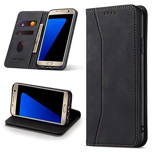 Leaisan Handyhülle für Samsung Galaxy S7 Hülle Premium Leder Flip Klappbare Stoßfeste Magnetische [Standfunktion] [Kartenfächern] Schutzhülle für Samsung Galaxy S7 Tasche - Schwarz