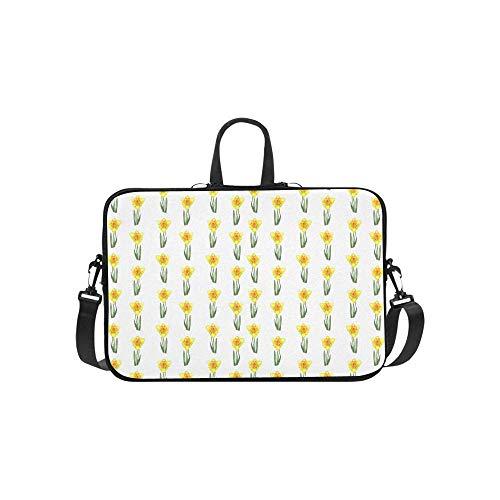 15.6″Durable Hombro Mensajero Bolsa maletín PC Narciso de patrón Floral Realista botánico Moda Impermeable Ordenador Portátil/portátil/Tablets