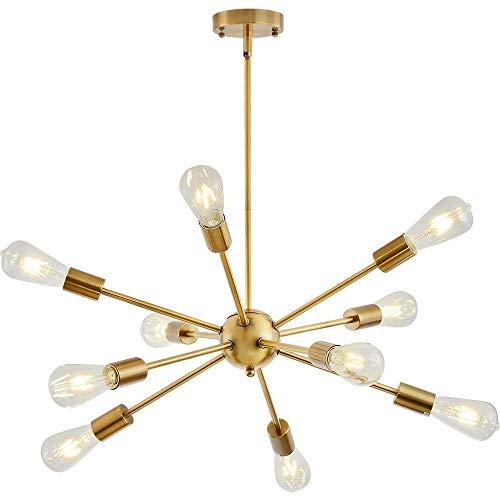 Sputnik Lampadario, Modern lusso Lampada a sospensione con 10 E27 Luci, Altezza Regolabile, per soggiorno Camera da letto Loft (Ottone Senza Lampadina)