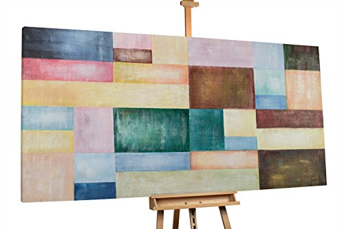 KunstLoft® XXL Gemälde 'Felicitous' 200x100cm | original handgemalte Bilder | Moderne Bunte Farbfeldmalerei | Leinwand-Bild Ölgemälde einteilig groß | Modernes Kunst Ölbild