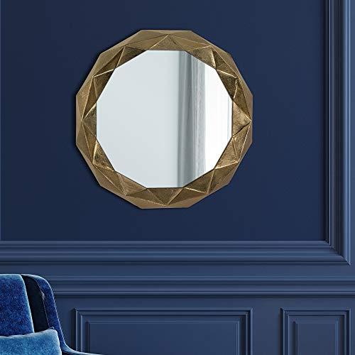 WOMO-DESIGN Espejo de Pared Guayaquil Ø 84 cm Redondo de Cristal Marco de Metal Dorado Colgante de Diseño Moderno Elegante Circular Poligonal Decorativo de Baño Espejo de Maquillaje Tocador Vestidor