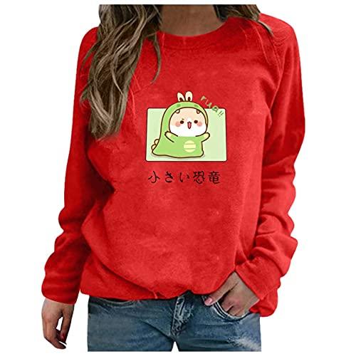 Otoño Lindo Estampado Sudadera Mujer Cuello Redondo Manga Larga Jerseys Streetwear (Color : 2, Size : XX-Large)