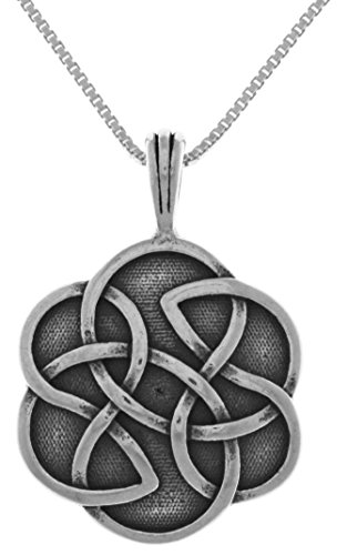 Jewelry Trends Sterling Silver Shield of Destiny Celtic Pendant with 18 Inch Chain Necklace