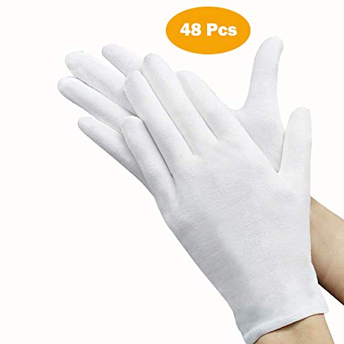 48 Pcs White Gloves, ANDSTON 24 Pairs Soft Cotton Gloves, Coin Jewelry Silver Inspection Gloves, Stretchable Lining Glove, Medium Size
