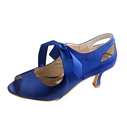 Zapatos De Novia De Tacón Medio para Mujer Punta Abierta Satén Mary...