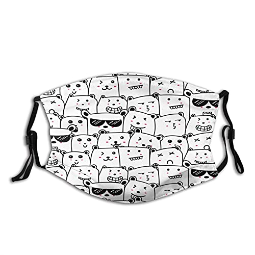 Cute Bears Doodle Art Pattern Background Mens Women Washable Reusable Bandanas 3D Print Breathable Mouth Cover with 2 Filter,1PCS,