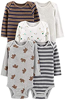 Simple Joys by Carter's Boys' 5-Pack Long-Sleeve Bodysuit, Bears/Animals Green/Stripes, 6-9 Months