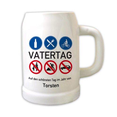 Privatglas zum Vatertag - Bierkrug Motiv: Bollerwagen Name: Torsten