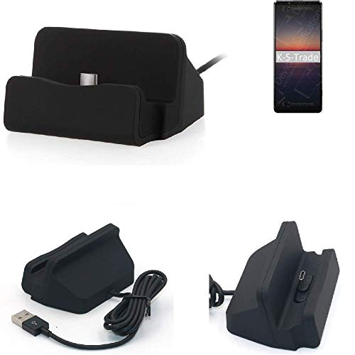 K-S-Trade Dockinsgstation Für Sony Xperia 1 II Ladestation Dock Ladegerät Docking Station Inkl. USB Typ C Kabel Schwarz
