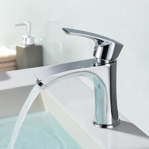 Homelody Grifo Lavabo Anti- ruido para Baño Acabado Cromado con Aireador ABS Desmontable Ahorro de Agua