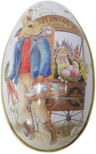 1pcs Uova di Pasqua Luminose Stampate Grande Uovo di Pasqua Vintage Carino Coniglio Modello Scatola di Latta Scatola di Ferro Vuota per La Caccia di Pasqua,B
