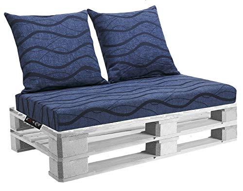 EXTROITALY Belem Onda Blu Set Cuscini 120x60 + schienali 60x60 pz.02 per Esterno/Interno arredo Pallet da Giardino Divanetto per bancale Cuscini Interno Poliuretano Tessuto Lavabile Sfoderabile