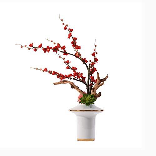 Fevilady Flores artificiales, flores artificiales de ciruela, plantas artificiales en maceta, arreglos modernos de flores de estilo chino, adornos florales bonsái, traje de flores falsas (color: A)