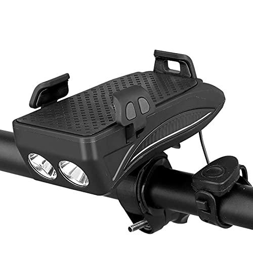 Luces de Bicicleta, 4 en 1 Luz de Bicicleta USB Impermeable Recargable con Soporte telefónico, Bicicleta Bell y Potencia móvil para Hombres Mujeres Niños Carretera Ciclismo,Negro