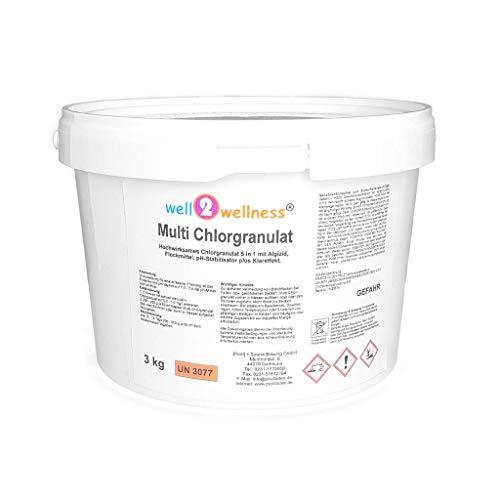 well2wellness Chlor Multigranulat 5 in 1 - hochwirksames Chlorgranulat mit 5 Funktionen 3,0 kg