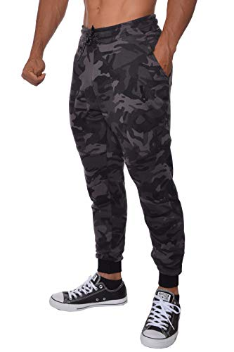 YoungLA Slim Fit Joggers for Men | French Terry Cotton Skinny Tapered Sweatpants | Gym Sports Activewear Workout Clothes 202 Camouflage Black Large