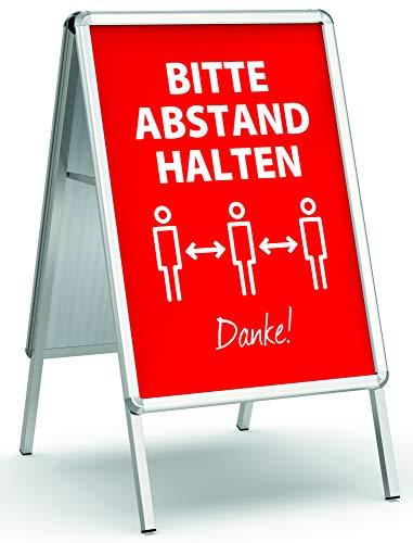 König Werbeanlagen Plakatständer Alu - Line DIN A1 beidseitig | inkl. 2 Plakate Bitte Abstand halten Danke! rot | Kundenstopper Gehwegaufsteller Werbetafel wetterfest