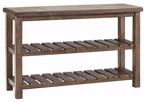 Ashley Furniture Signature Design - Vennilux Sofa/Console Table - 2 Shelves - Vintage Casual - Grayish Brown