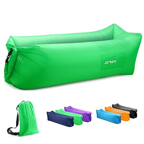 JSVER Sofa Hinchable del Aire del Ocioso de con el Paquete Portable para Viajar, Acampar, Senderismo, Piscina y Partidos de la Playa (Verde)