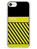 Case Warehouse Personalizado Rayado Diagonal: Amarillo/Negro Impact Funda para iPhone 7 Plus TPU Protector Ligero Phone Protectora con Personalizado Nombre Texto