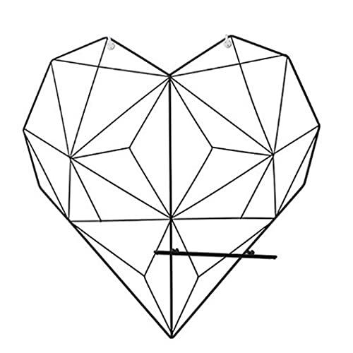 SHYPT Amor corazón en Forma de Estante de Almacenamiento de Hierro para Colgar en la Pared Fotos Postal Rejillas metálicas Soporte de Almacenamiento