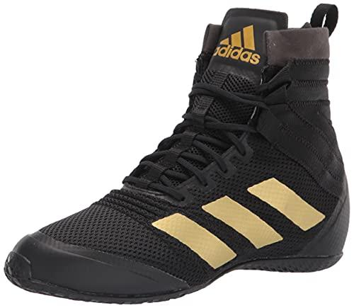 adidas Men's Speedex 18 Boxing Shoe, Black/Gold Metallic/Hazy Yellow, 13