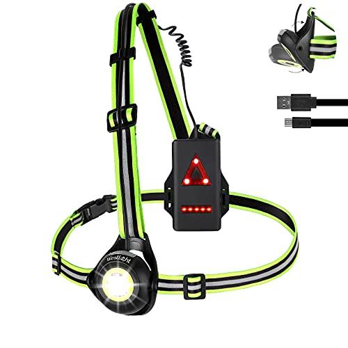 ICOCOPRO Lauflicht mit Reflektoren, 90 ° Verstellbares LED Brustlicht Wasserdicht, USB Wiederaufladbar 500 Lumen Lauflampe mit Rotes Licht für Laufen, Joggen, Angeln, Campen (Black)