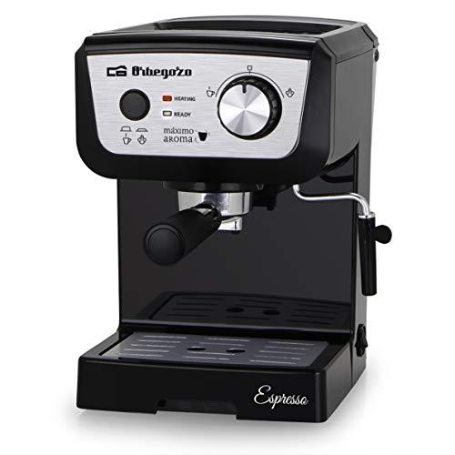 Orbegozo EX 5000 - Cafetera para espresso y cappuccino, bomba italiana 20 bar, control electrónico, depósito 1,3 L extraíble, café molido o monodosis, vaporizador, bandeja de goteo, 1050 W