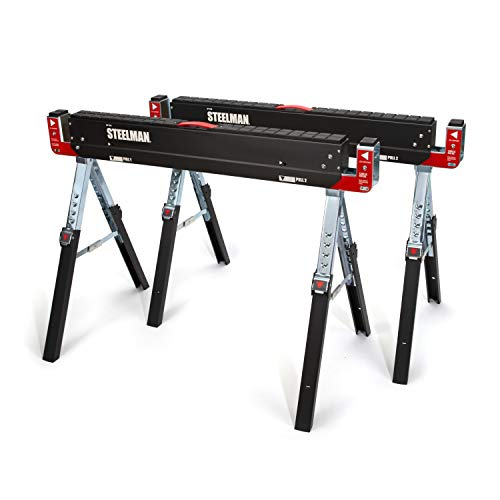 Steelman Adjustable Height Work Table Folding Sawhorses, Set of Two, Durable Steel Construction, Folding Legs, 2x4 Table Support Arms, 2,600 lb. Combined Loading Capacity