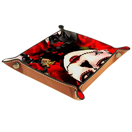 rodde Bandeja de Valet Cuero para Hombres - Chica Calavera Rosa Mexicana - Caja de Almacenamiento Escritorio o Aparador Organizador,Captura para Llaves,Teléfono,Billetera,Moneda