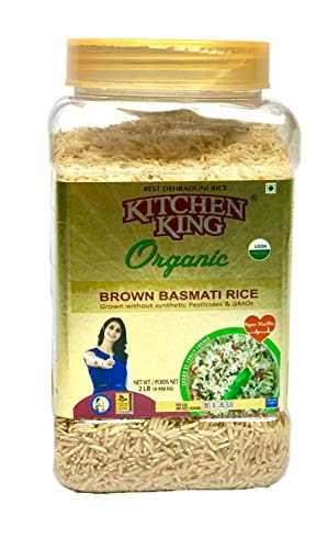 Kitchen King ORGANIC Brown Basmati Rice - 2 Lbs Jar (32 Oz) - Non GMO, Kosher, 100% Whole Grain, USDA Certified