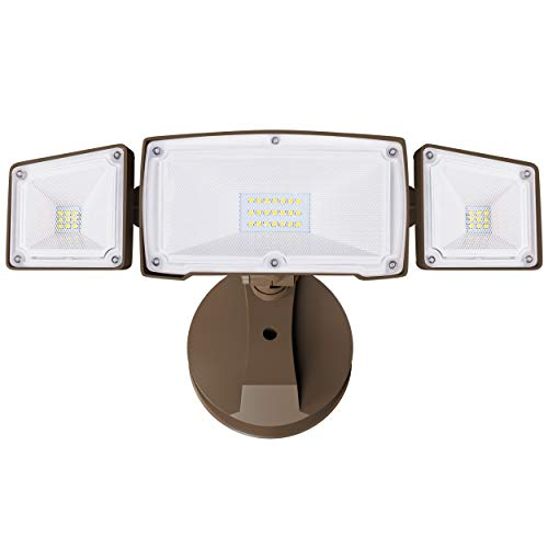 Bronze 3 Head LED Security Lights Outdoor, 30W 3500LM 5000k, IP65 Waterproof, ETL Certificated, Flood Light Exterior Security Light for Garage, Patio, Garden, Porch&Stair