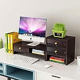 Q-HL Supporto per Monitor Desk del Supporto Monitor Riser Schermo Riser in Legno Massiccio di Computer da scrivania con 3 Bagagli cassetto for Il Computer Portatile Tablet PC (Color : Black)