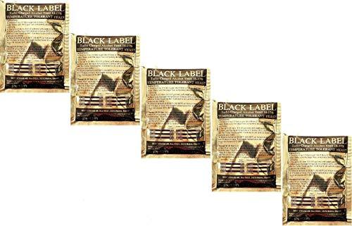 Hugbert Turbohefe Black Label 14-17% Vodka Alkohol Gärhefe Hefe Schnaps Brennhefe, 5 Stück