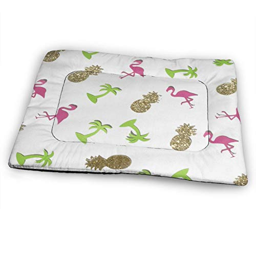 N\ A Extra Large Dog Pet Bed Pad Golden Pineapple and Pink Flamingo Fleece Dog Bed Mattress for Large Dogs Cats Pig Non-Slip Waterproof Pet Mat Dog Pads for Cars, Dog Crate Kennel, Rectangle