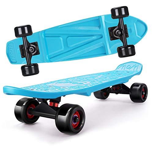 FGKING Classic Plastic Cruiser Skateboard,Kids Skateboard, for Beginners 24 Inch Intense Acceleration Complete Mini Skateboards for Girls/Boys Beginners/Youth/Adults,Blue